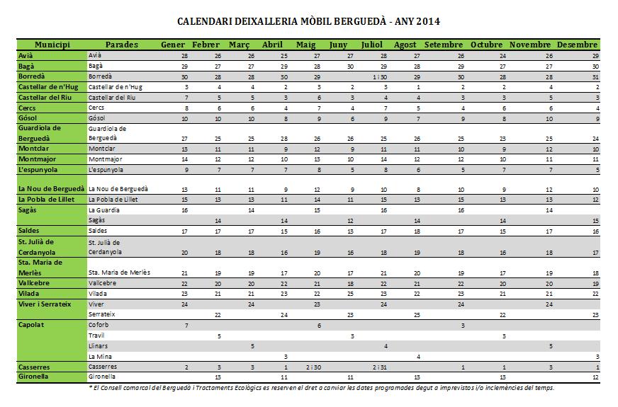 Calendari deixalleria mòbil 2014