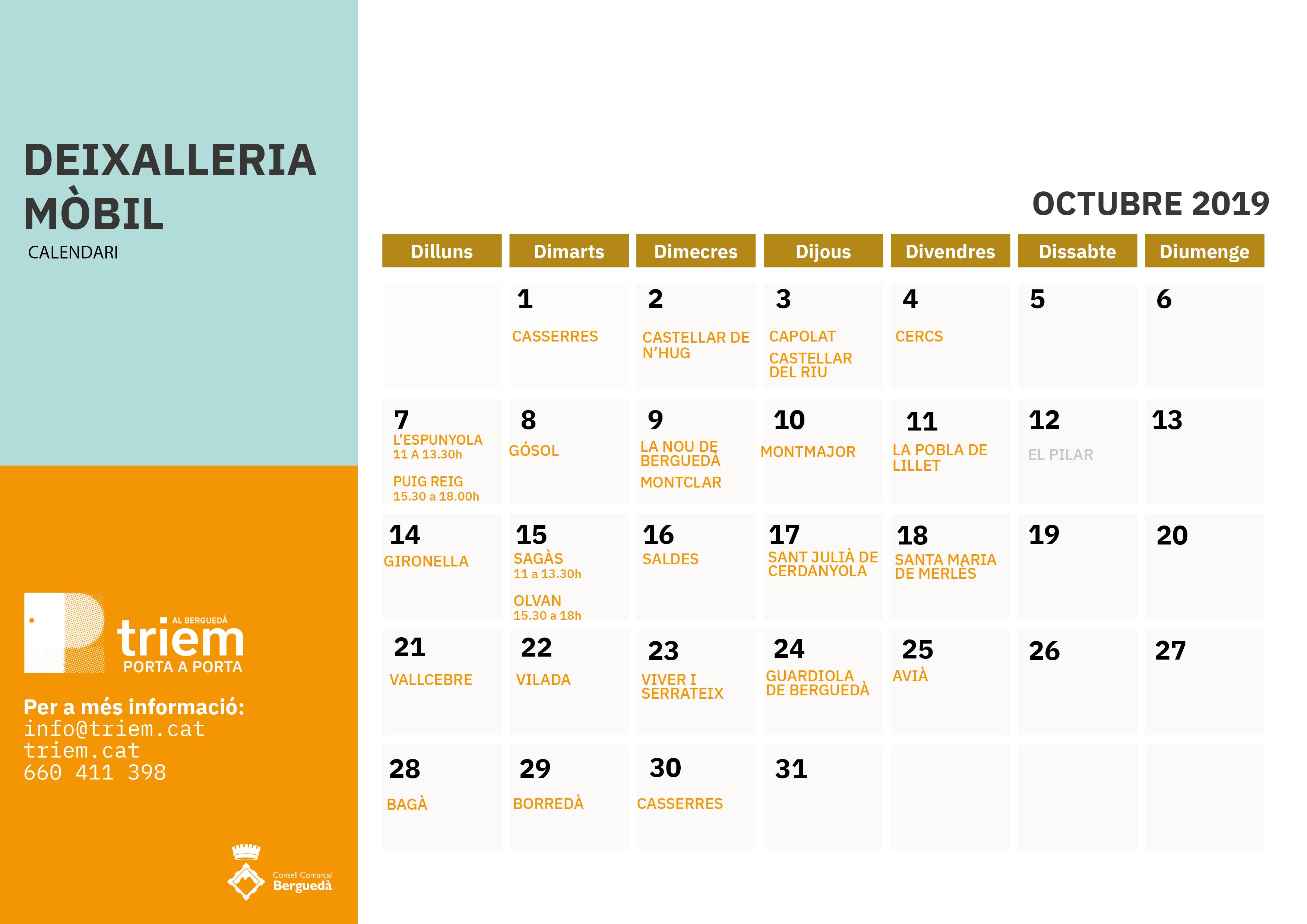 Deixalleria Mòbil Octubre 2019